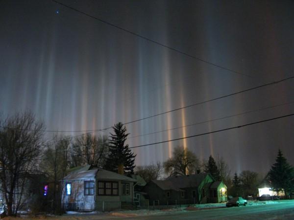 pilares de luz efecto solar