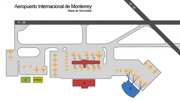 plano mapa aeropuerto de monterrey