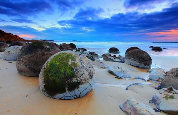 Moeraki Boulders en Koekohe Beach, Nueva Zelanda
