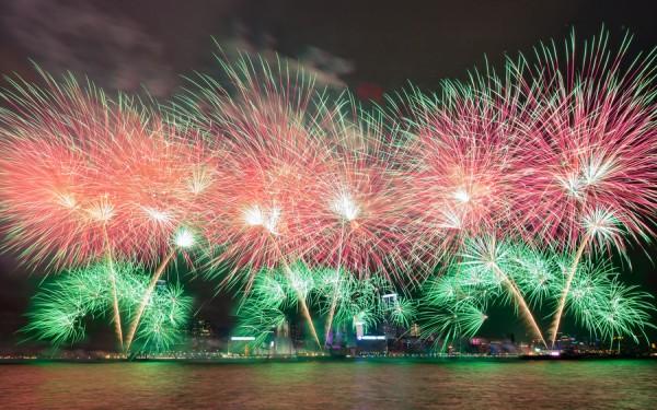 fuegos artificales Puerto Victoria - Hong Kong, China