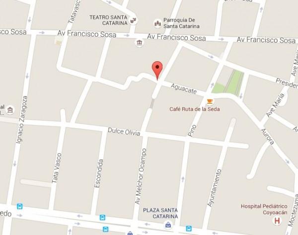 mapa callejon del aguacate coyoacan mexico df