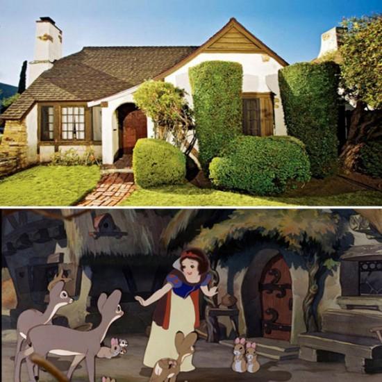 Casas en el barrio de Los Feliz en Los Ángeles / Disney: Cabaña de los siete enanitos en Blancanieves