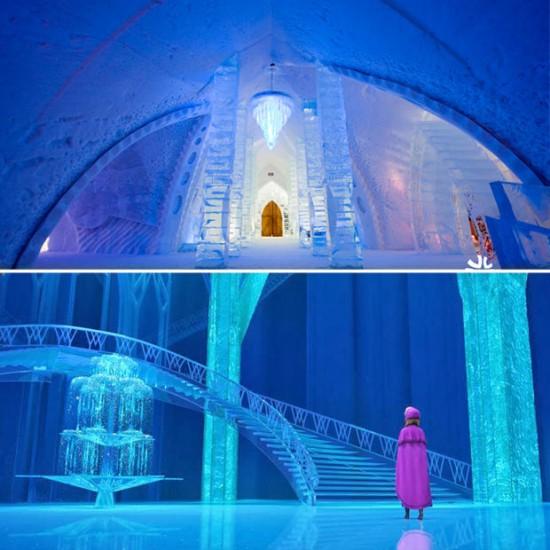 Hotel de Hielo en Quebec / Disney: Castillo de Hielo de Elsa en Frozen