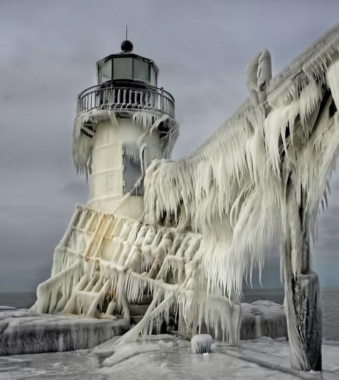 Faro Congelado St. Joseph North Pier, Michigan, USA