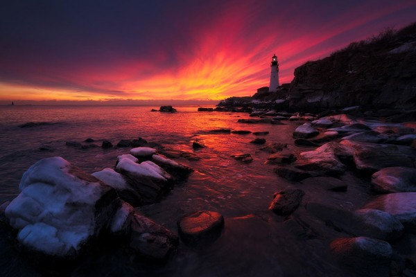 Faro Portland Head Light, Maine, USA