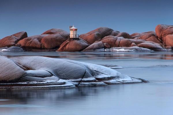 Faro Stångholmen en Lysekil, Suecia