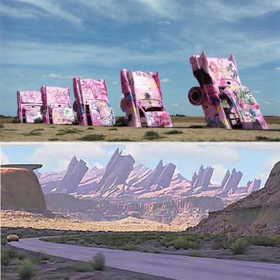 Cadillac Ranch en Amarillo, Texas / Disney: Cadillac Range en Cars