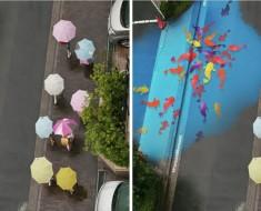 murales callejeros cambian de color lluvia corea del sur