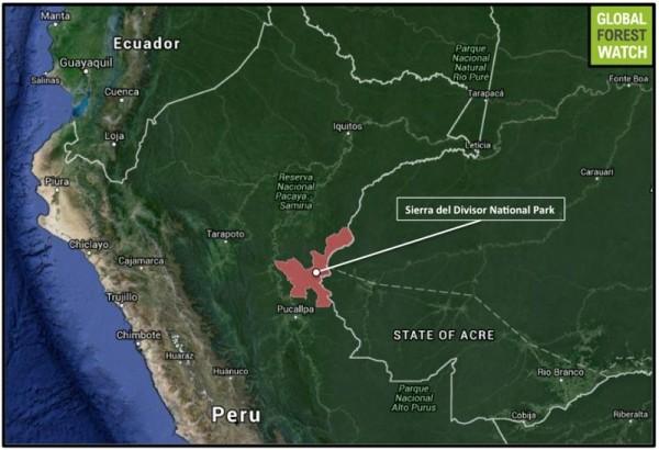 plano mapa sierra del divisor peru