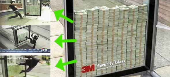 Si puedes romper el vidrio te quedas con el dinero