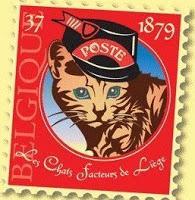 sello gatos carteros liege belgica