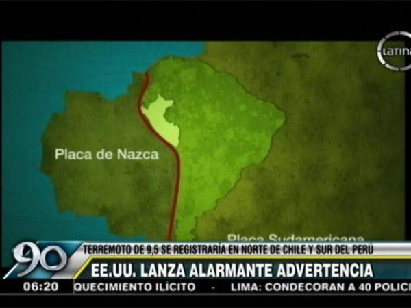 Estados Unidos advierte a Chile y Perú de un terremoto de 9 grados