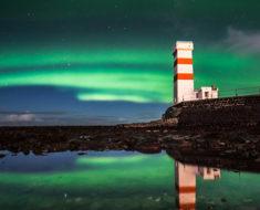 Esta increíble aurora boreal fue captada por un drone en Islandia