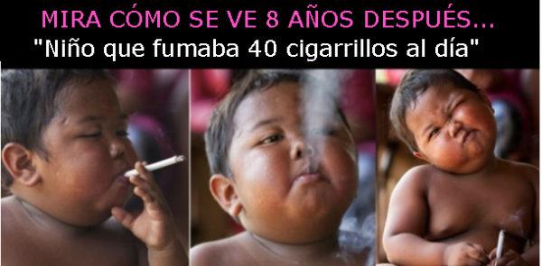 ¿Recuerdas al niño que fumaba 40 cigarros al día? Así se ve 8 años después