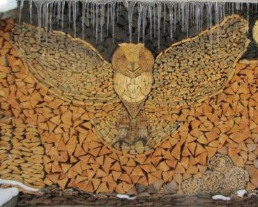 arte apilar leña madera