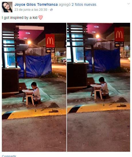 Conoce la historia del niño que estudiaba bajo la luz de un McDonalds