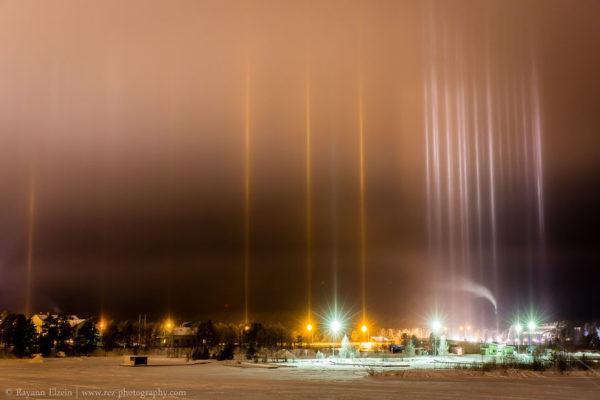 El impresionante fenómeno óptico de los pilares de luz
