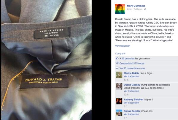 La ropa marca Donald Trump tiene la etiqueta 'Hecho in Mexico'
