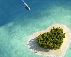 Cuatro islas románticas con forma de corazón