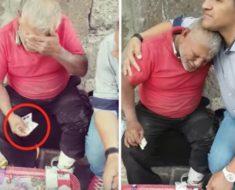 Este anciano vendedor de dulces lloró de alegría cuando este joven se le acercó…