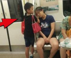 Este niño se paró junto a mujer dormida y lo que le hizo, se ha vuelto viral en todo el mundo
