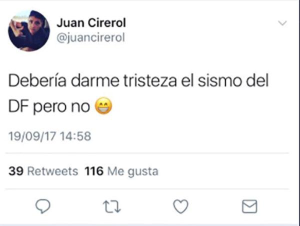Mientras otros estaban ayudando, este cantante se burlaba en Twitter del terremoto de México