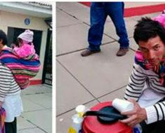 Padre vende desayunos con su bebé cargada en la espalda – ahora sus fotos causan admiración