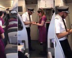 Capitán durante el vuelo le pide matrimonio y todos gritan por cómo lo hace