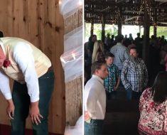 Novio espera el amor de su vida – oye un ruido desde atrás de la iglesia y se descompone